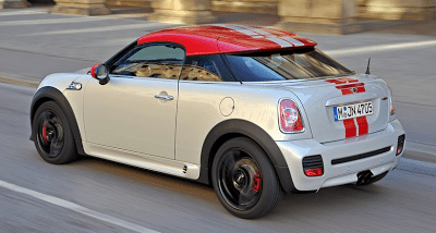 2012 Mini Coupe White with Red Stripes