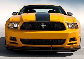 2013 yellow Ford Mustang Boss 302 front end