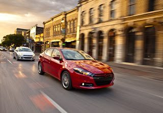 2012 Dodge Dart red on road