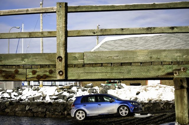2013 Volkswagen Golf R Blue under wharf