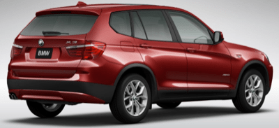 2013 BMW X3 rear view vermillion red