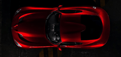 2013 SRT Viper GTS red from above aerial view
