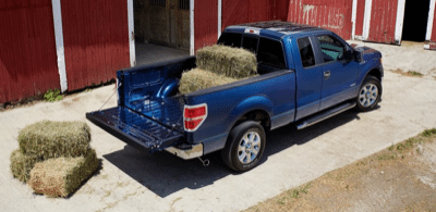 2013 Ford F-150 truck bed hay bale