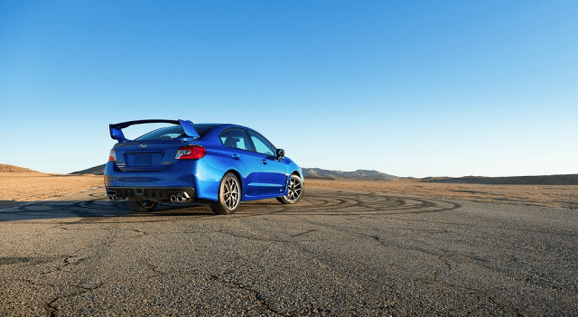 2015 Subaru WRX STI blue rear