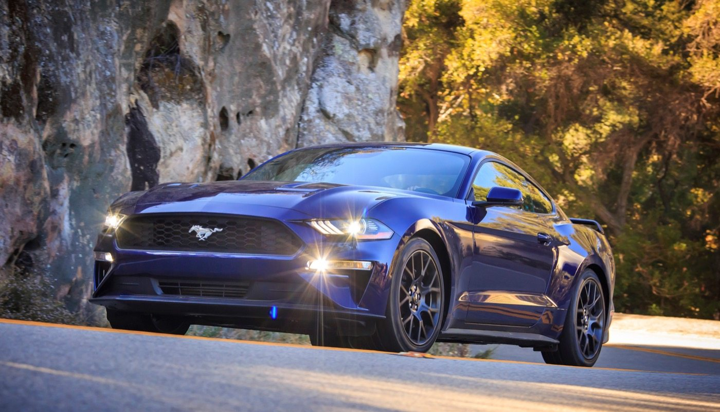 2018 Ford Mustang (Kona Blue with Performance Pack) - Image: Ford