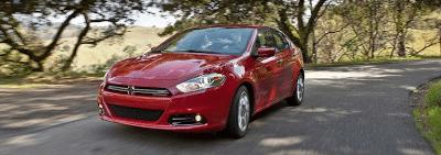 2013 Dodge Dart red cornering