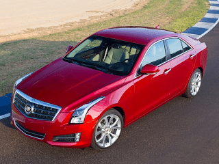 2013 Cadillac ATS red aerial view