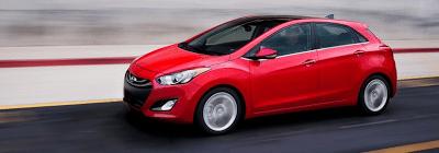 2013 Hyundai Elantra GT red profile angle