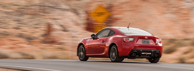 2013 Scion FR-S red rear angle