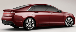 2013 Lincoln MKZ rear three quarter ruby red