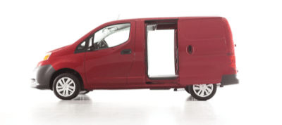 2013 Nissan NV200 red sliding doors open