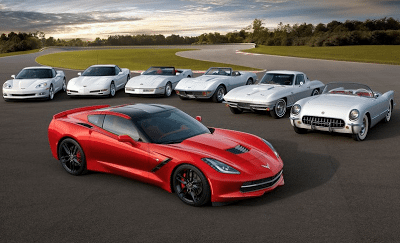 All seven generations of Corvette