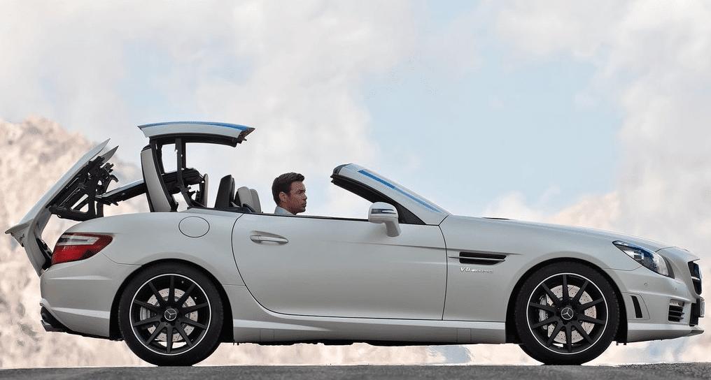 2012 Mercedes-Benz SLK55 AMG white roof operation