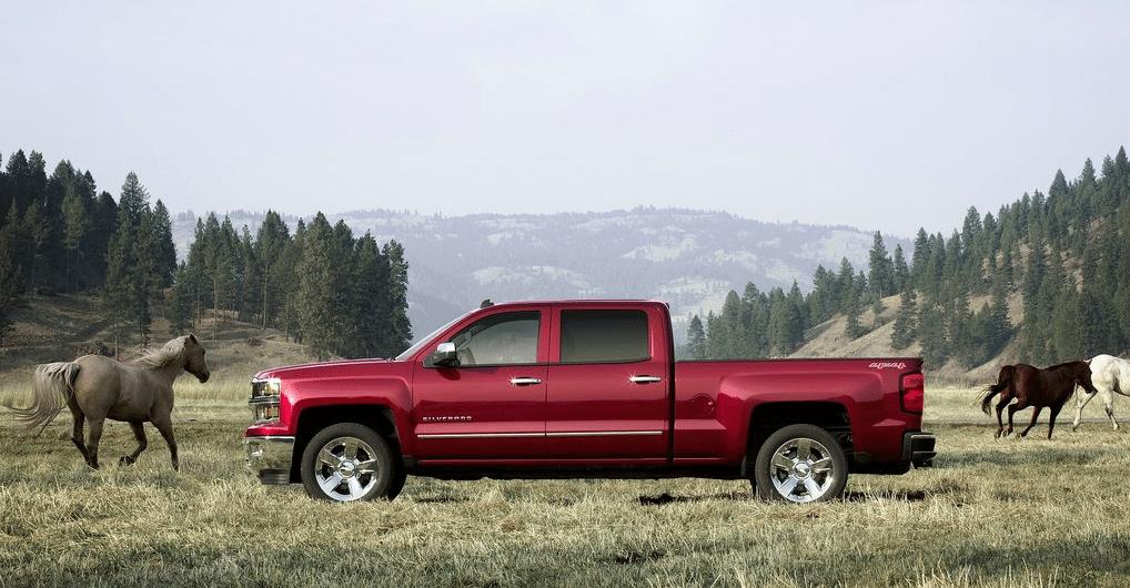 2014 Chevrolet Silverado crew cab red horses