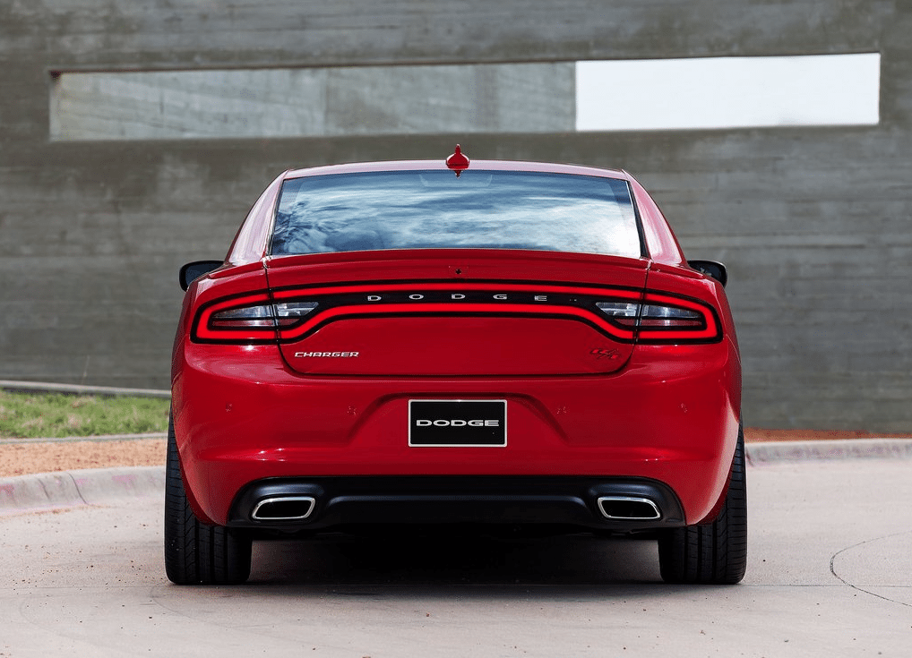 2015 Dodge charger red rear
