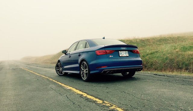 2015 Audi S3 blue rear three quarter