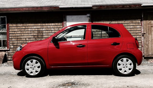 2015 Nissan Micra S red side view