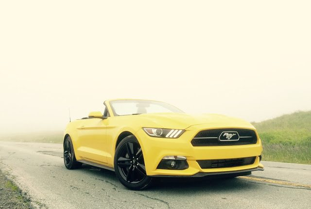 2015 Ford Mustang EcoBoost convertible yellow front