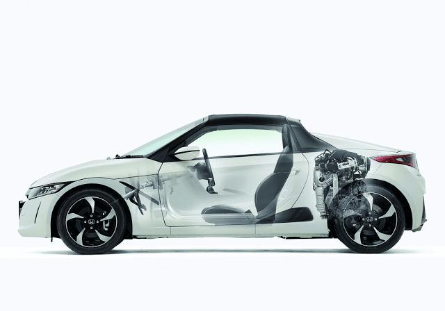 2015 Honda S660 white cutaway.
