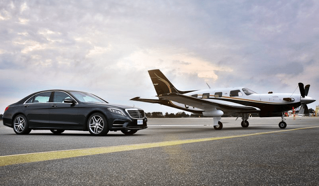 2015 Mercedes-Benz S-Class with airplane
