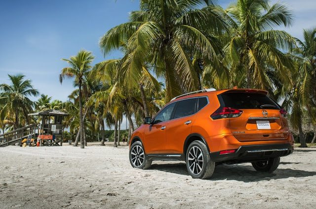 2017 Nissan Rogue orange rear