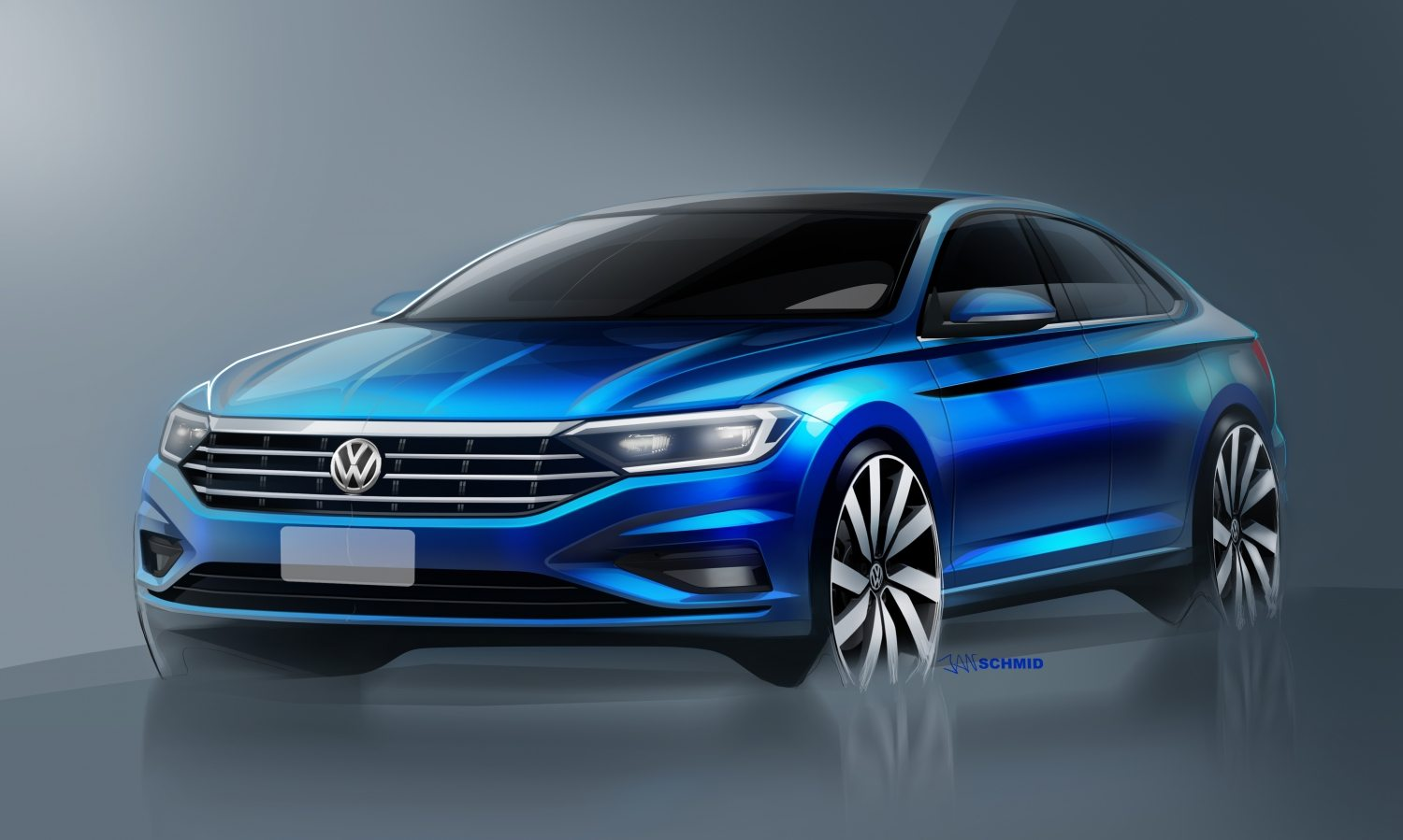 Sketch of the 2019 Volkswagen Jetta to be revealed at the 2018 Detroit Motor Show
