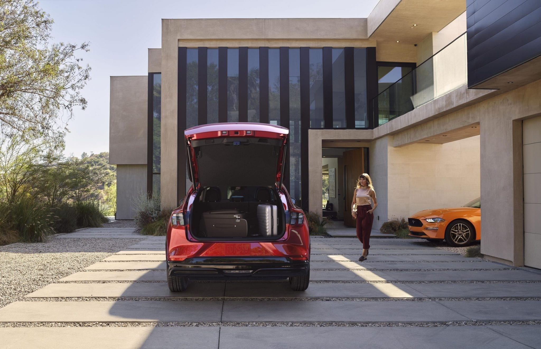 In addition to the exterior front trunk, the rear trunk is outfitted with 29 cubic feet of space. With the back seats down, the Mustang Mach-E boasts 59.6 cubic feet of space – more than enough room for luggage, camping gear or whatever else you may want to move around.