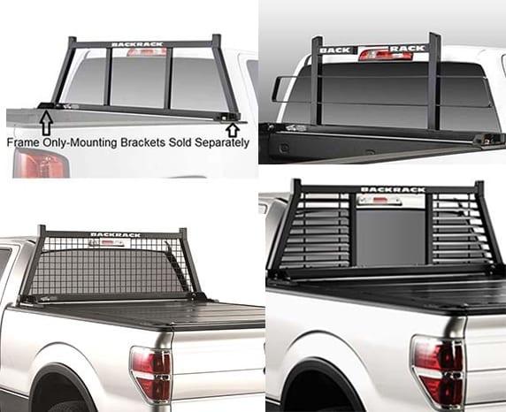 a variety of back racks for trucks