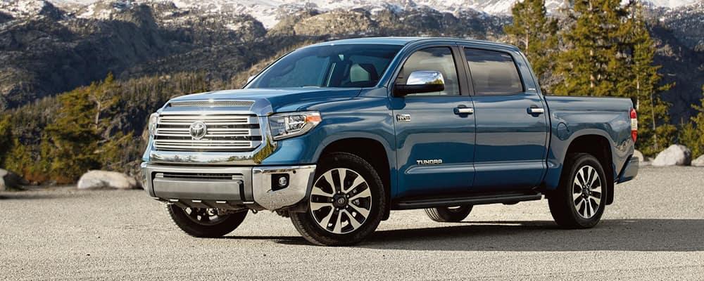 Blue 2021 Toyota Tundra crew cab truck