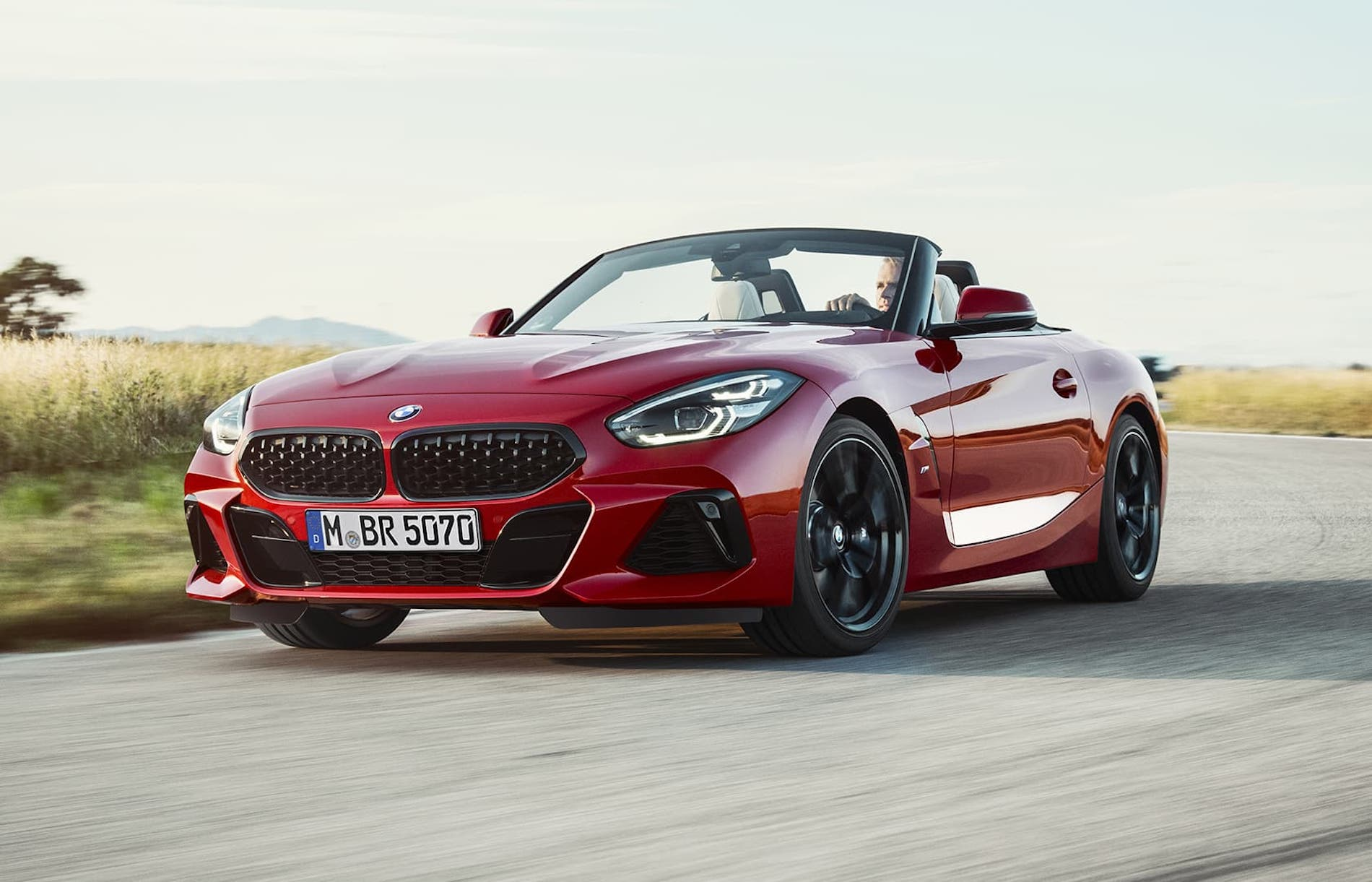 A view of a Red 2021 BMW Z4 Convertible