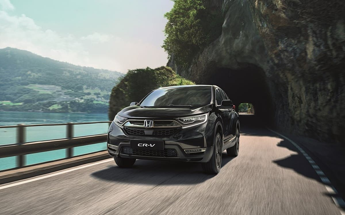 A view of a Black 2021 Honda CR-V Hybrid SUV