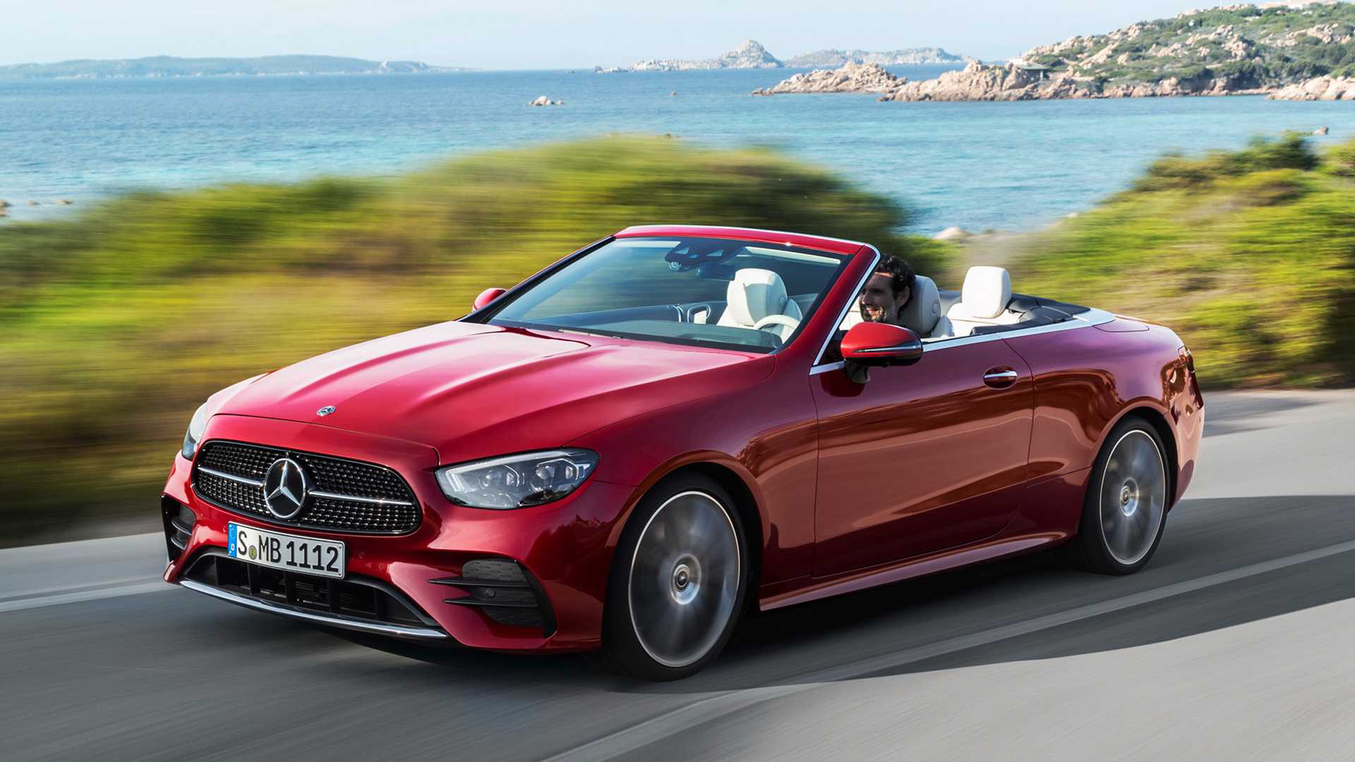 A view of a Red 2021 Mercedes-Benz E 450 4Matic Cabriolet